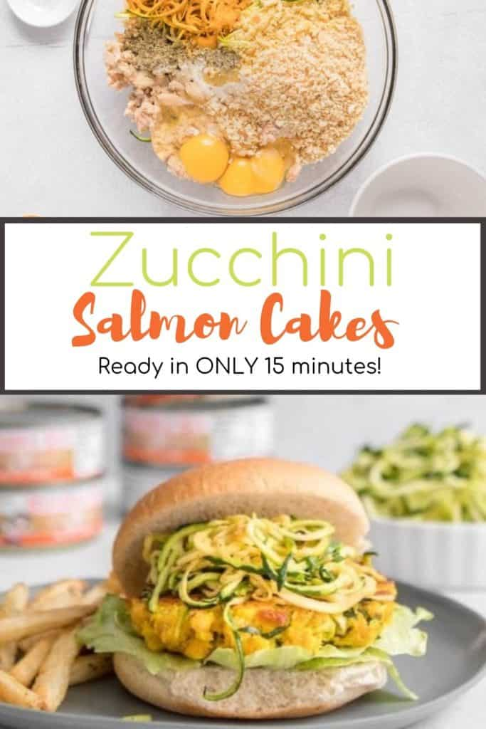 Salmon cakes with spiralized zucchini with text overlay for Pinterest | Bucket List Tummy