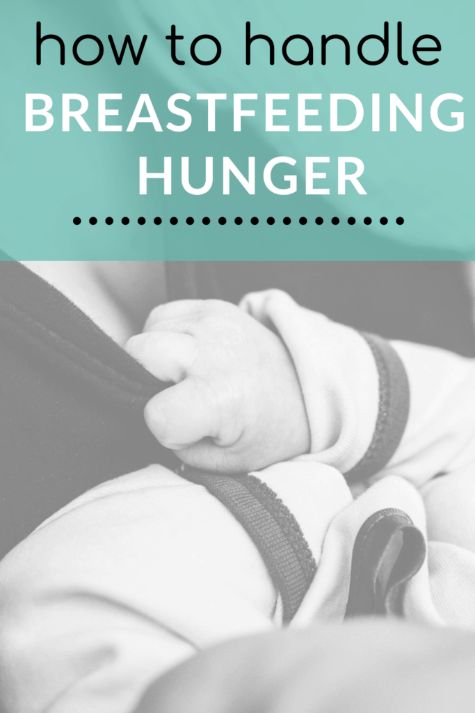 baby nursing with text overlay for Pinterest