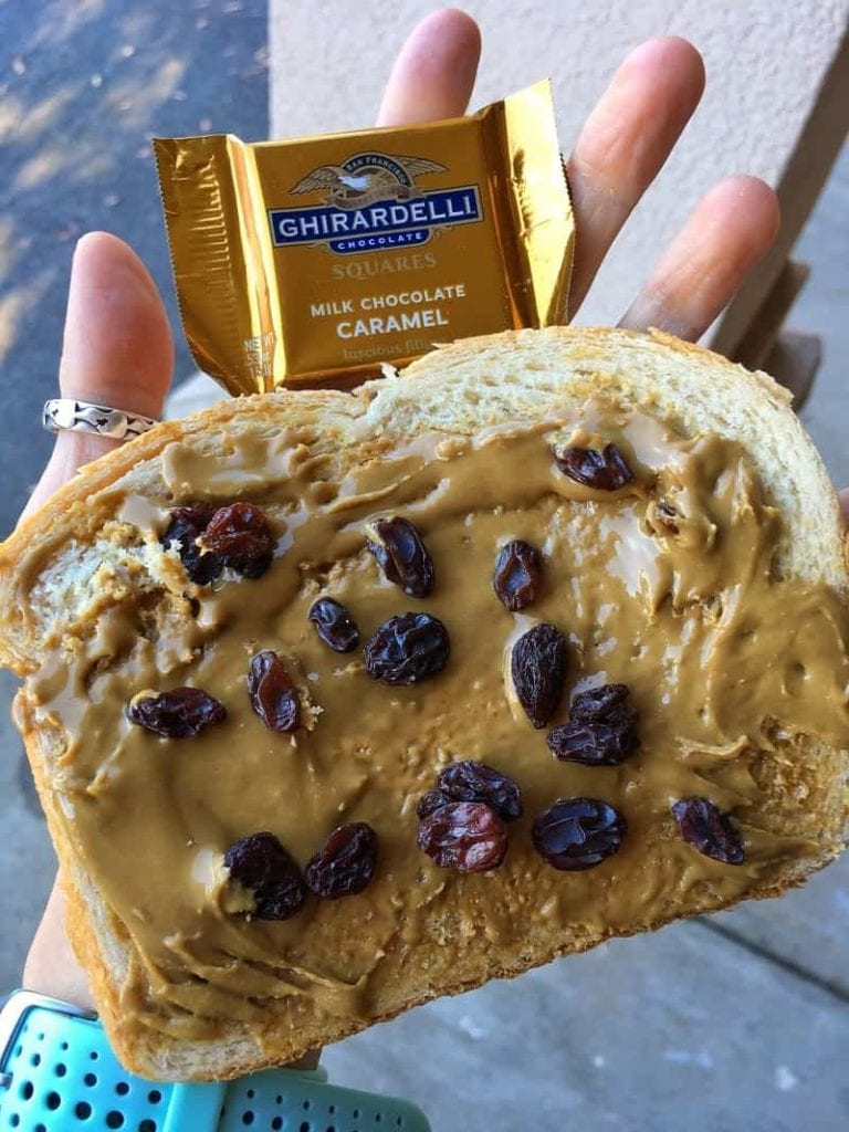 toast with peanut butter and raisins