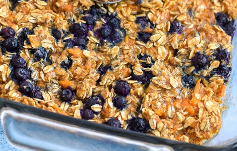 closeup of sweet potato blueberry baked oatmeal