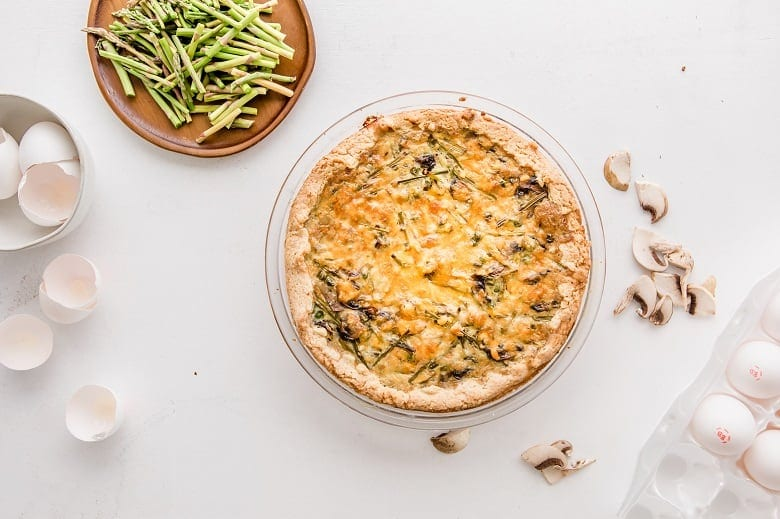 Cheesy Asparagus Mushroom Quiche in pie plate