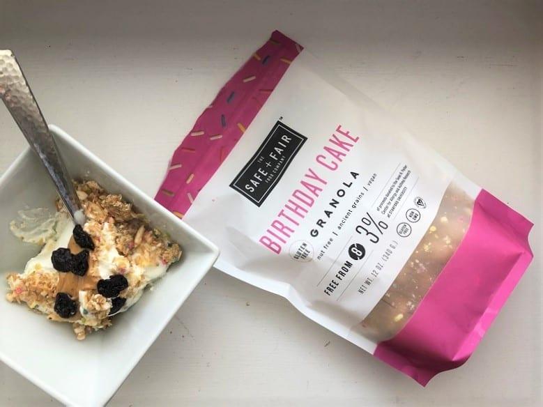 safe and fair granola with greek yogurt snack