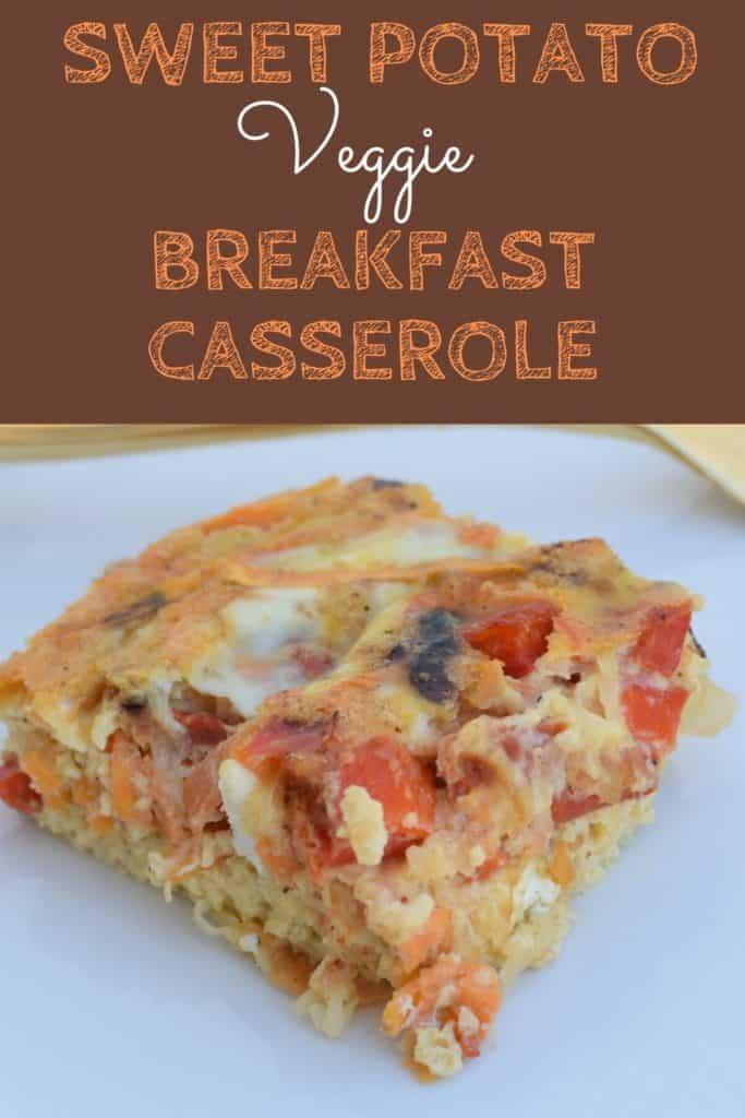 sweet potato breakfast casserole with text overlay