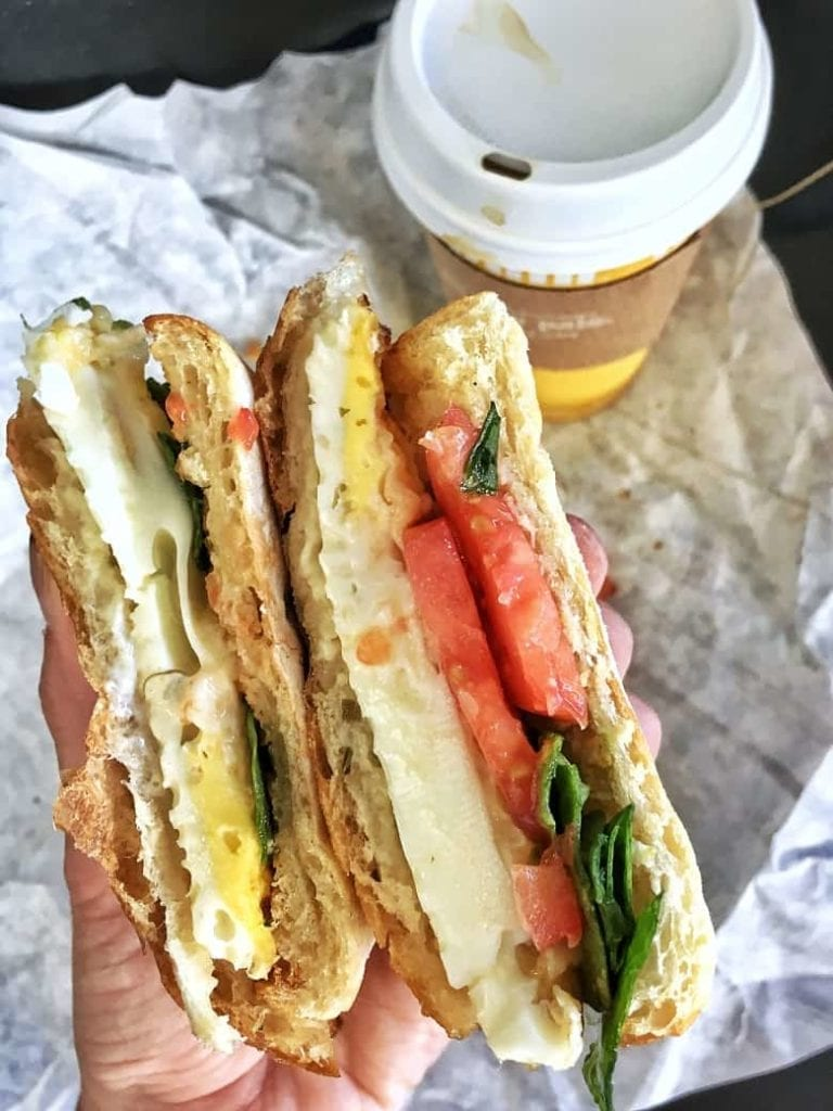 egg, cheese, tomato sandwich to go with coffee
