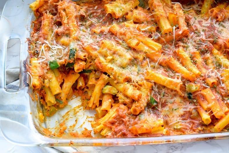 Veggie Pasta Bake in glass baking pan