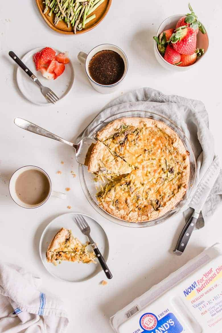 Pie serving of asparagus mushroom quiche with coffee and strawberries | Bucket List Tummy