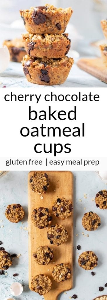 baked oatmeal cups with cherries and chocolate chips on wooden serving plank with text overlay