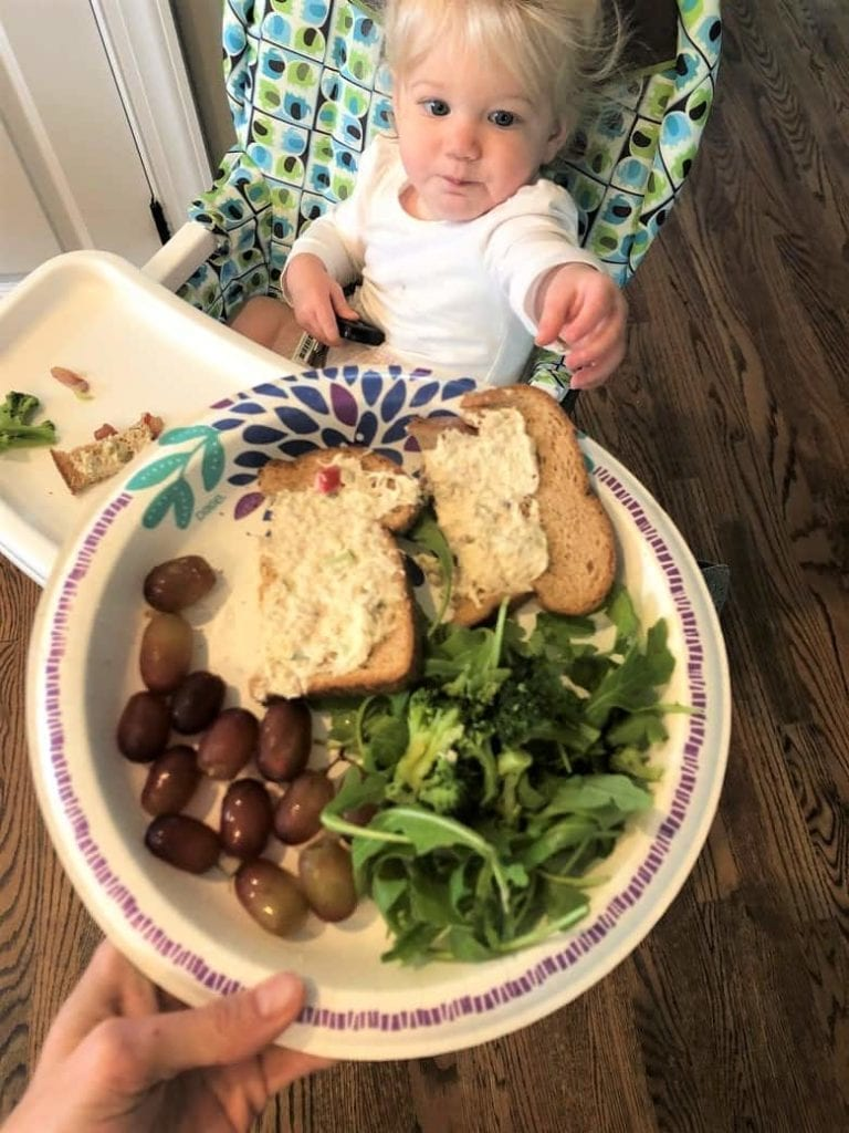 Chicken salad sandwich with grapes and arugula on paper plate