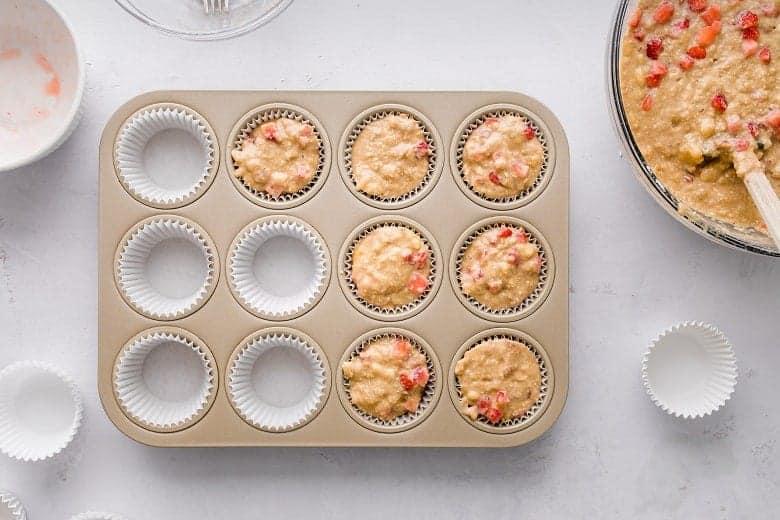 Batter for gluten free strawberry banana chickpea muffins | Bucket List Tummy