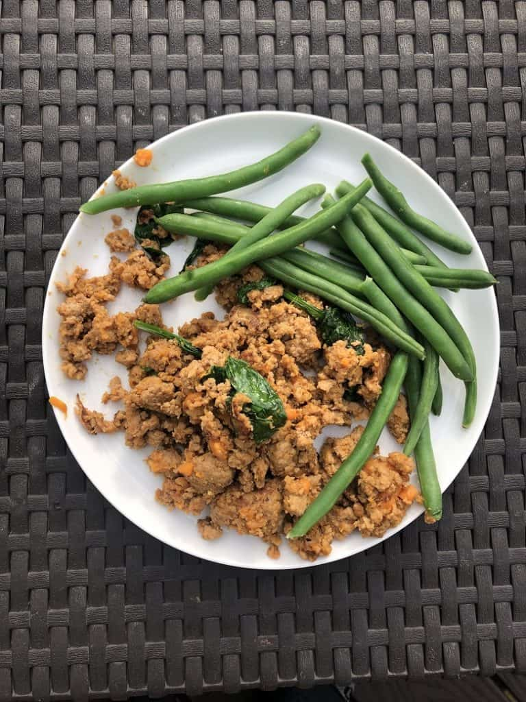 ground turkey with green beans on plate
