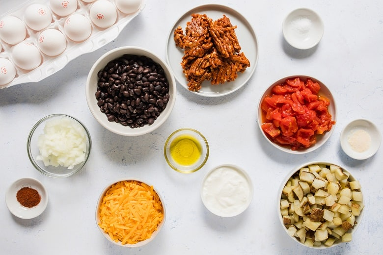 Bowls of ingredients for Mexican Chorizo Breakfast Casserole