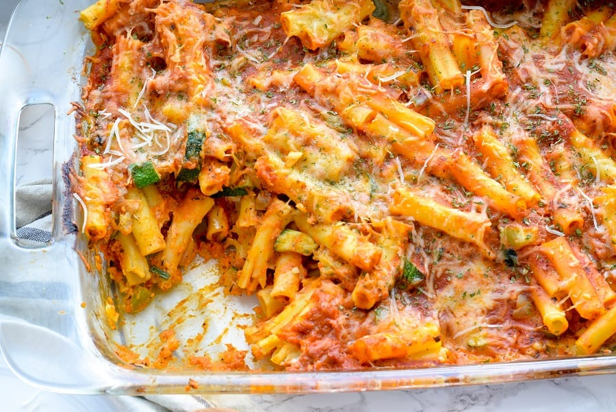 Pasta Bake in Casserole Dish, a vegetarian healthy meal for athletes