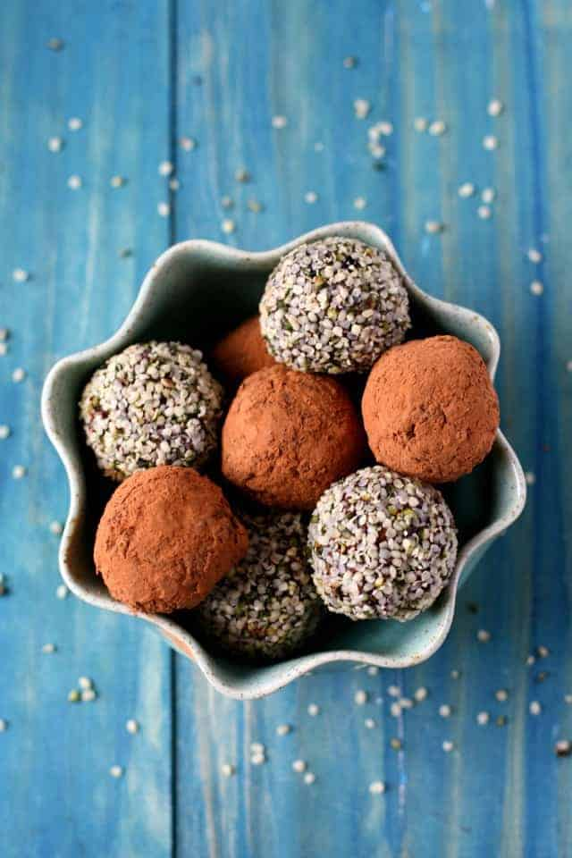 Chocolate Hemp Seed Energy Bites in a bowl