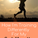 Training for a marathon with text overlay