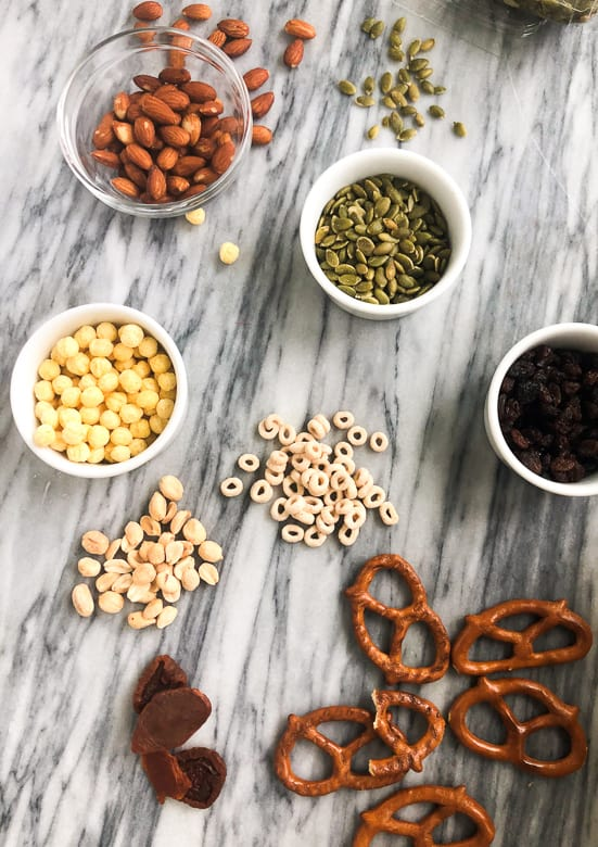 Ingredients for homemade trail mix on countertop | Bucket List Tummy