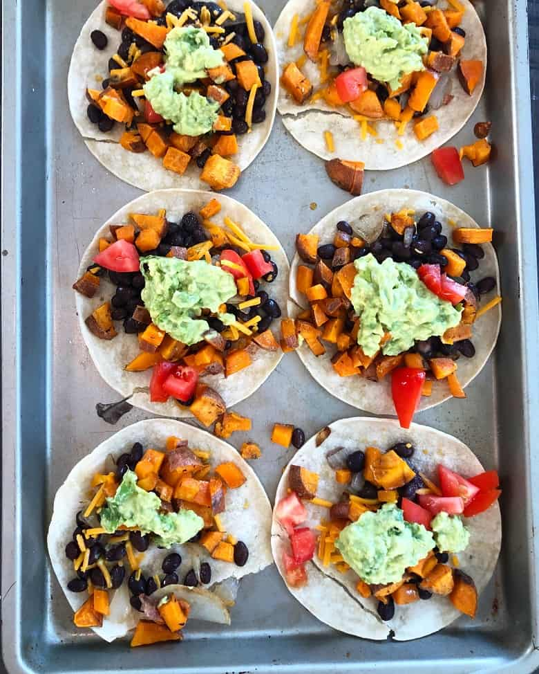 Sheetpan tacos with black beans and sweet potatoes