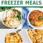 collage of postpartum meal ideas for new moms