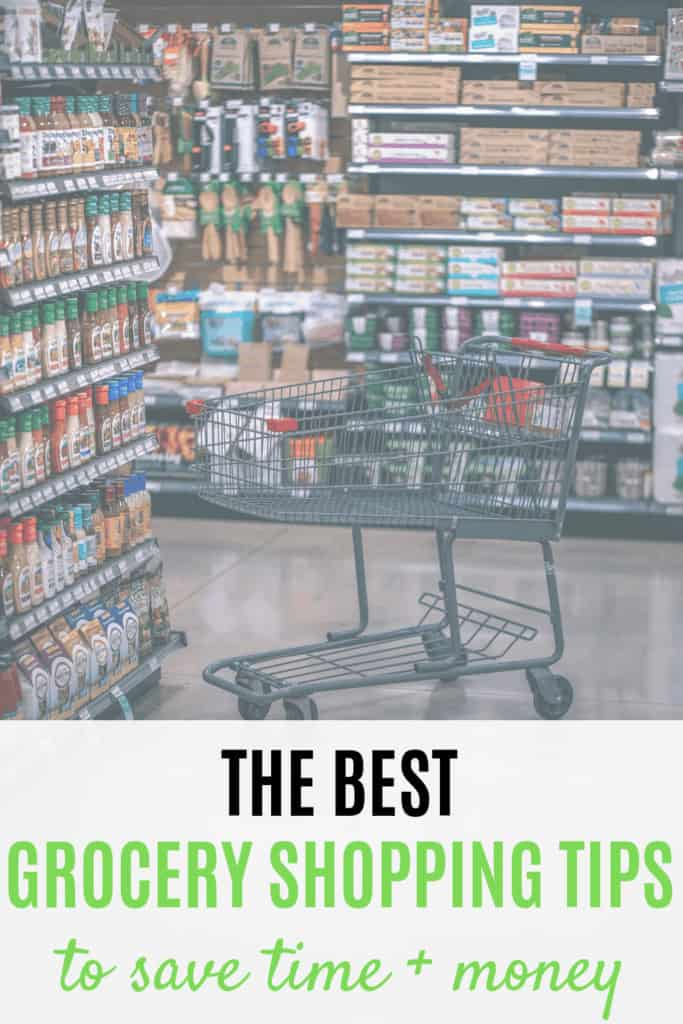 Grocery cart in grocery store aisle with text overlay