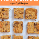 Pumpkin bars recipe with chocolate chips with text overlay | Bucket List Tummy