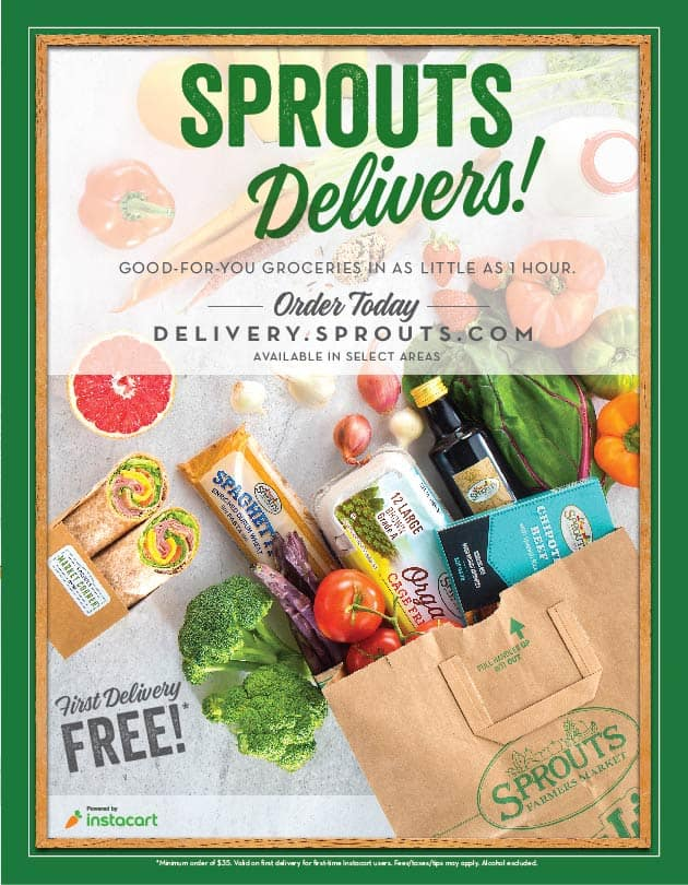 Sprouts delivery information with text overlay