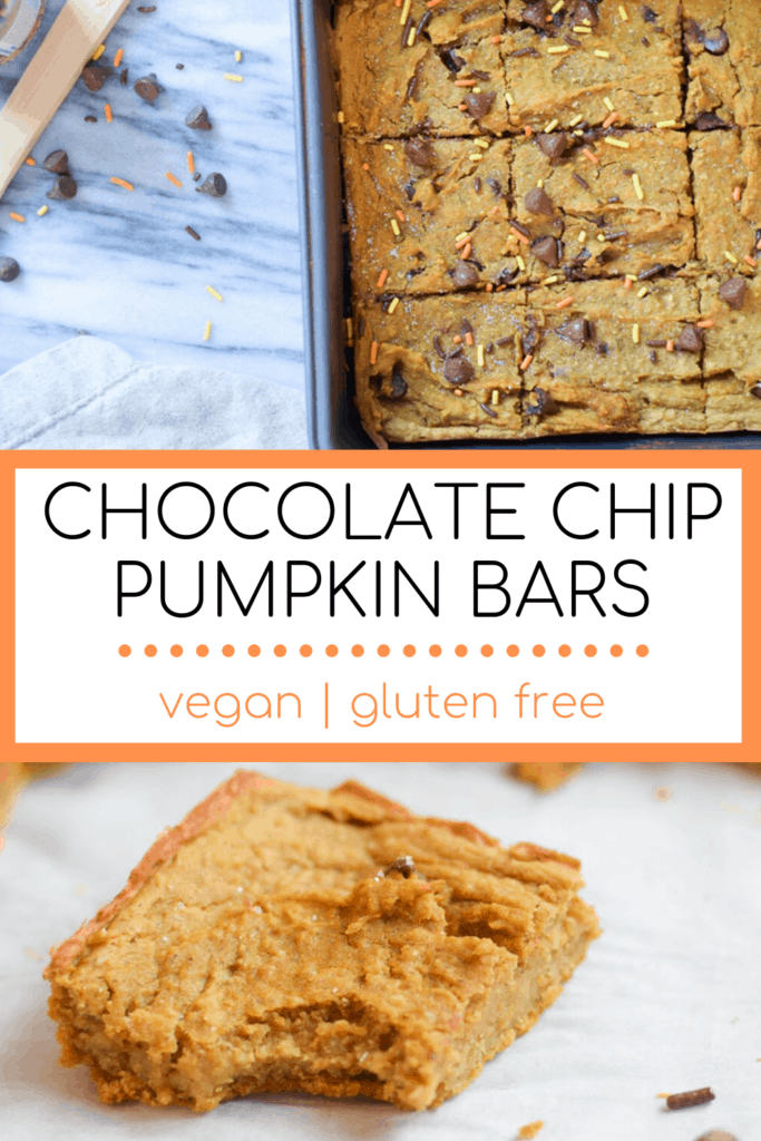 Pumpkin Blondies with chocolate chips with text overlay | Bucket List Tummy