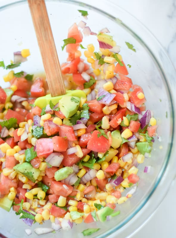 Avocado Tomato Salsa in a bowl