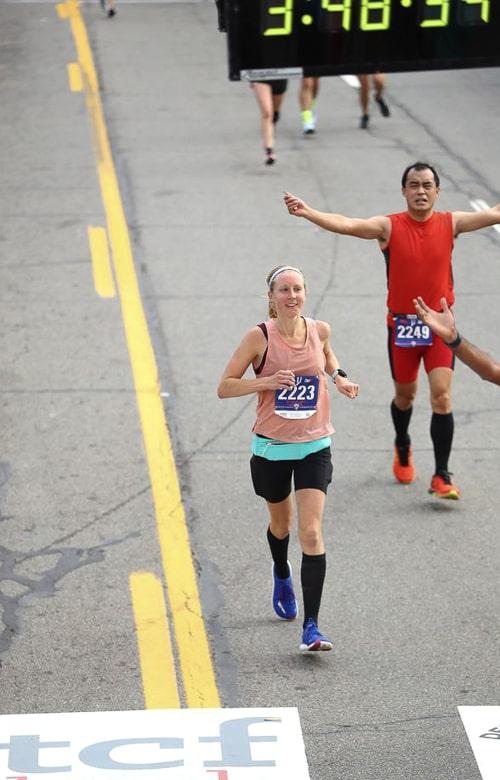 Finish line of Detroit Free Press Marathon