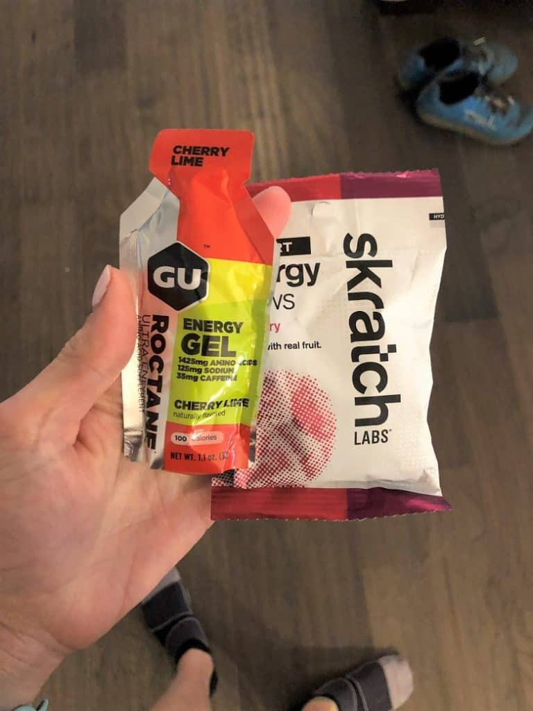 Skratch energy chews and GU Energy gel