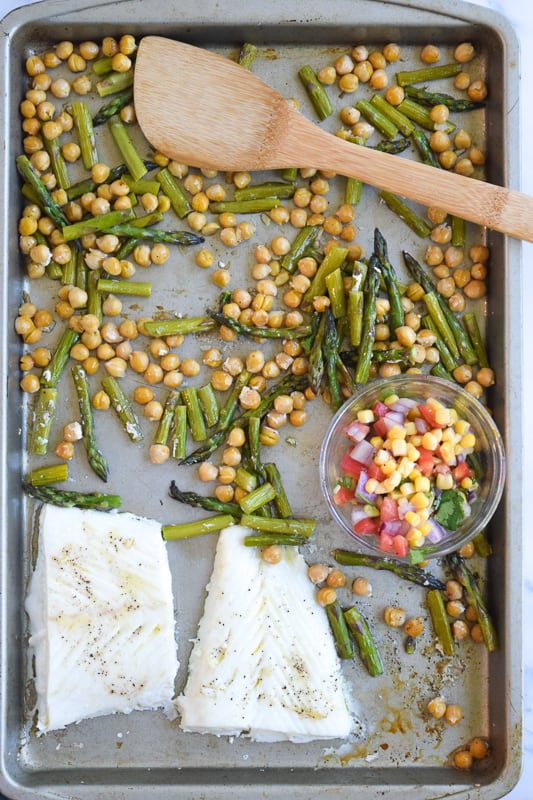 Alaskan Halibut on Sheet Pan with Chickpeas and Asparagus