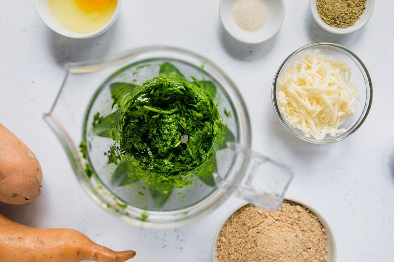 Pureeing spinach in food processor