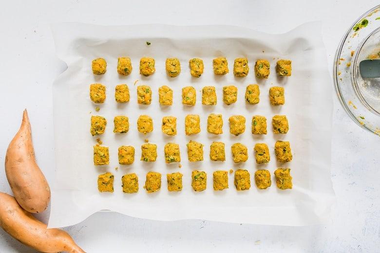 Sweet Potato Tater Tots on baking sheet | Bucket List Tummy