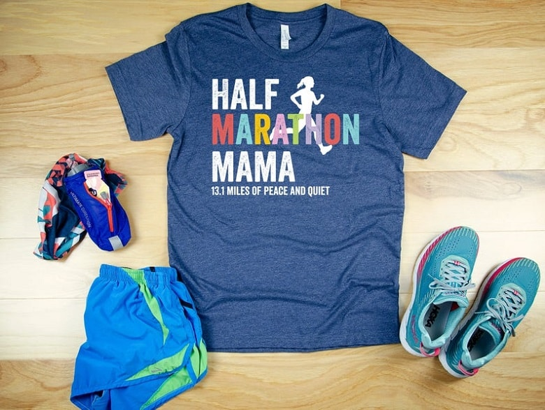 Half Marathon Mamma t shirt on wood floor