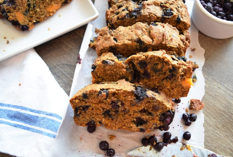Healthy sweet potato quick bread with blueberries on a napkin | Bucket List Tummy