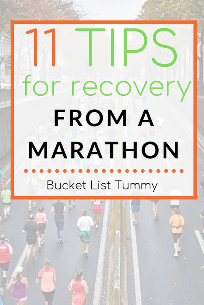 Best Tips for recovery from a marathon with text overlay