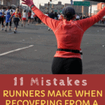 woman elated after running a marathon with text overlay