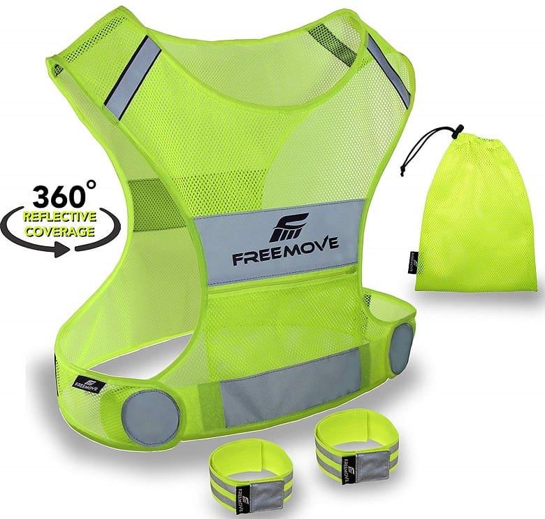 Green reflective vest for night running