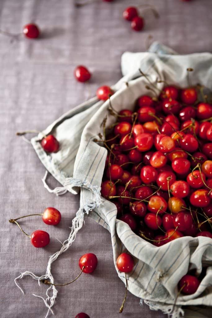 basket of cherries on tabletop