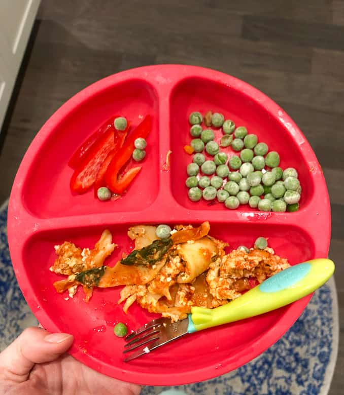 Toddler dinner plate in sectioned portions