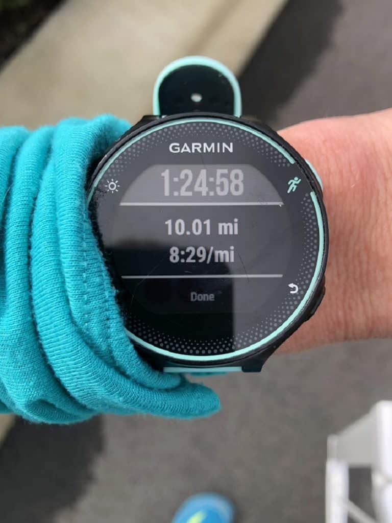 Garmin watch with 10 mile training run   Bucket List Tummy