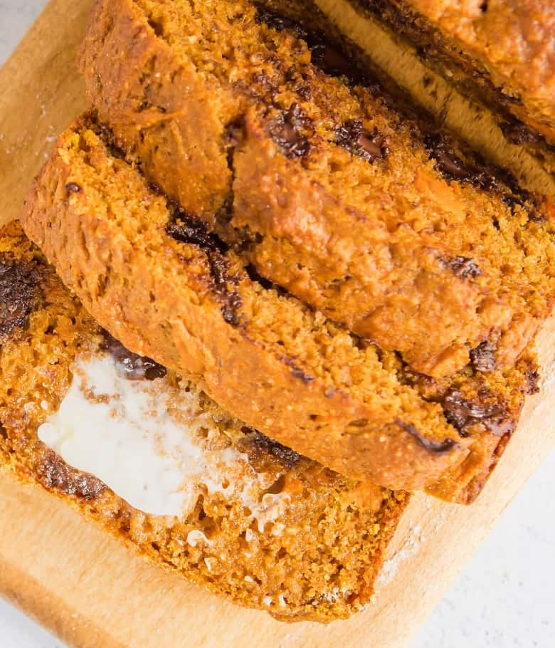 closeup of sweet potato bread healthy with butter