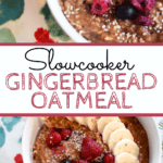 Slowcooker Oatmeal with text overlay
