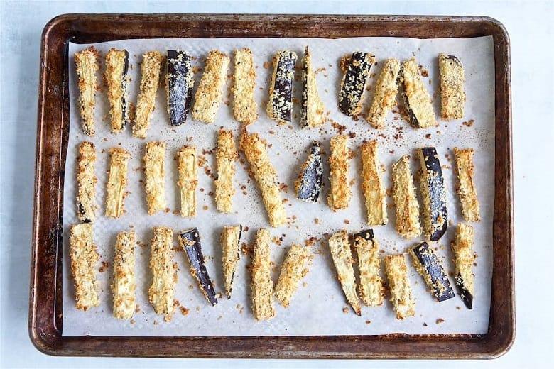 Eggplant fries on baking sheet