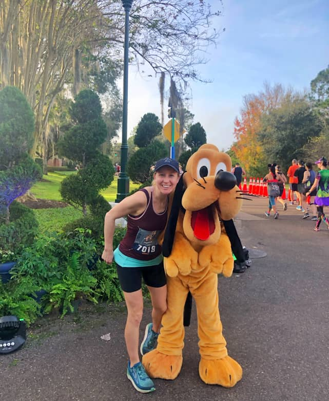 Picture with Pluto during 2020 Disney Marathon