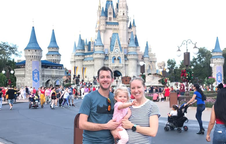 Family in front of Magic Kingdom