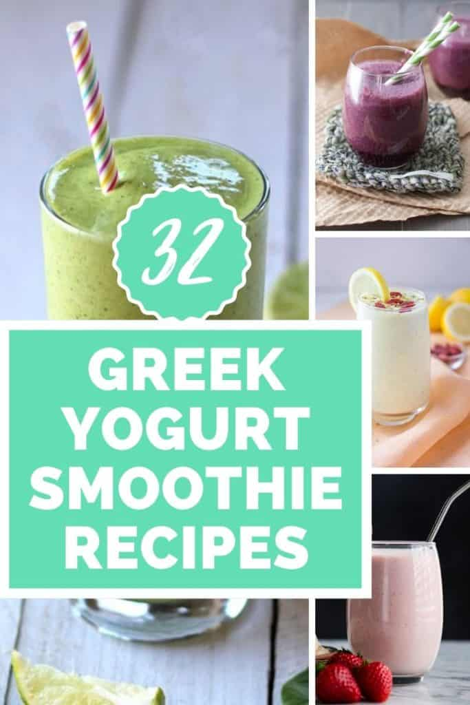 Greek yogurt Smoothies collage with text overlay