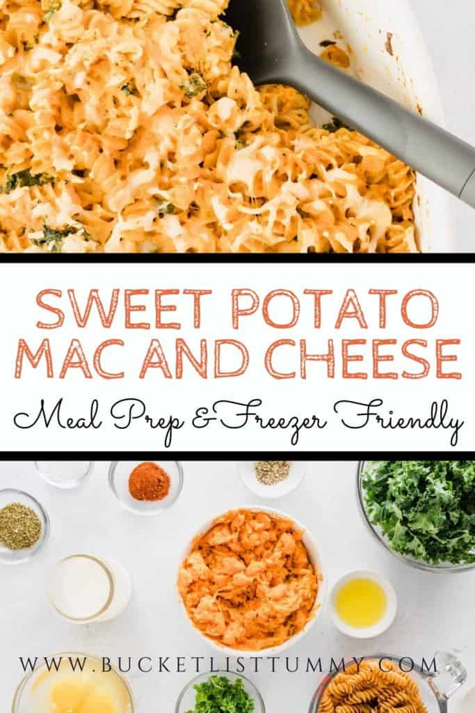 Sweet Potato mac and Cheese with text overlay | Bucket List Tummy