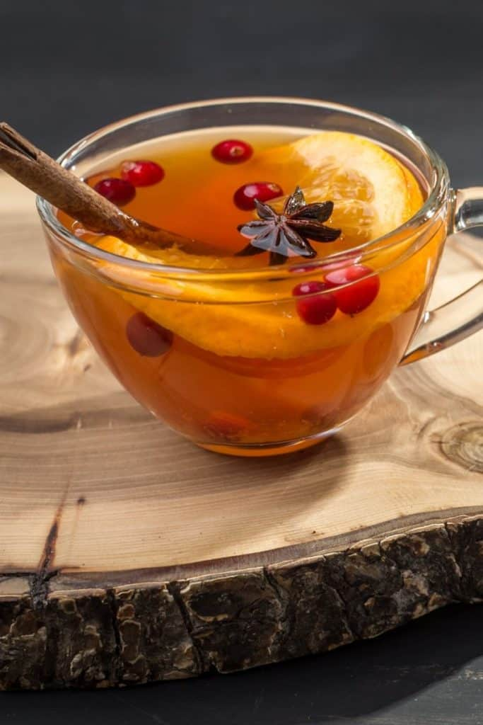Warm tea with fruit to stay hydrated