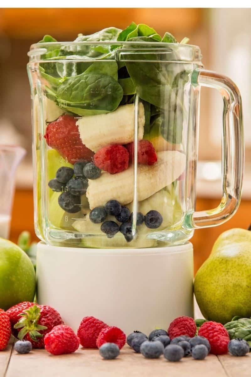 frozen fruit smoothie ingredients in blender