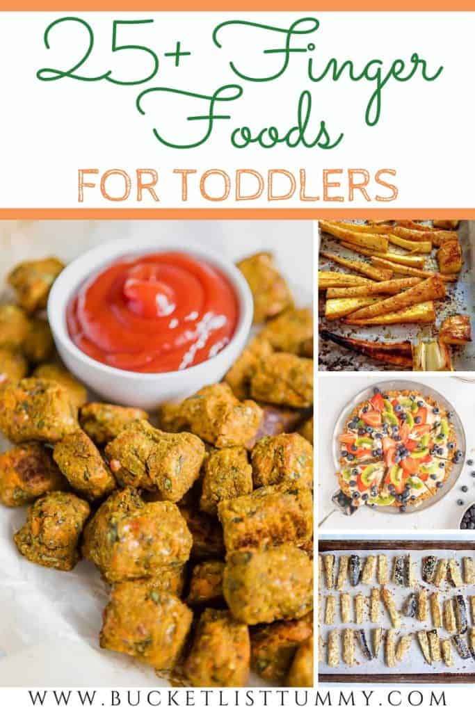 finger foods for toddlers with text overlay