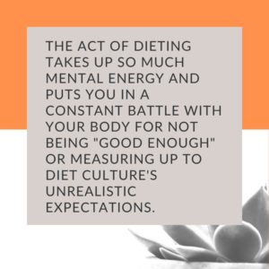 Social media graphic with text about dieting taking up mental energy and space